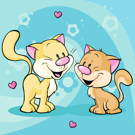 cute kitty in love on abstract floral background Ilustracja