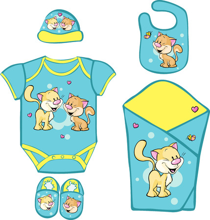 bodysuit: layette for newborn baby with cute kitty