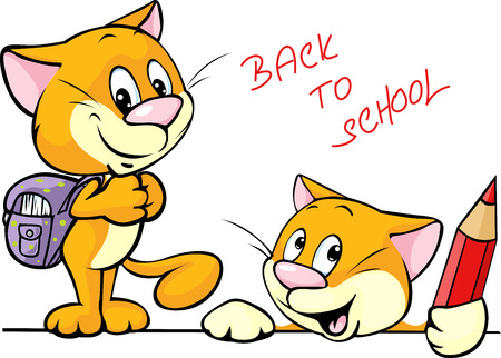 back to school - cat character with school supplies Vector