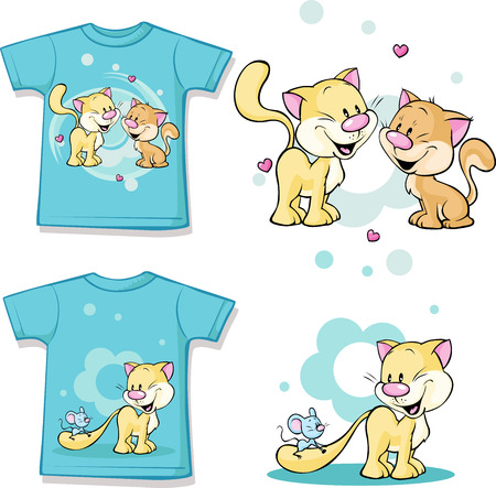 children's wear: kid shirt with cute cat in love printed - isolated on white, back and front view Illustration