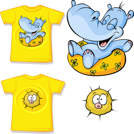 swim wear: kid shirt with funny hippo love printed - isolated on white, back and front view