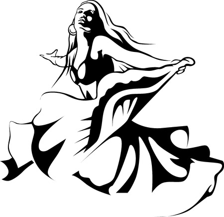 black woman: dancing woman - black outline illustration