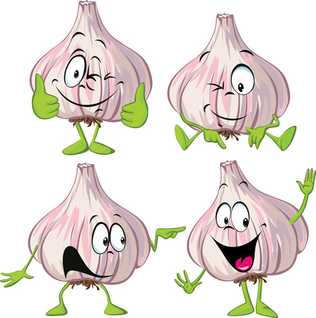 garlic cartoon with hands and legs standing isolated on white background