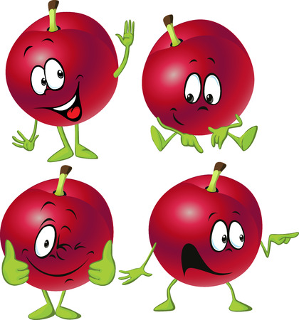 funny fruit: red plum cartoon with hands and legs standing isolated on white background Illustration