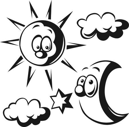 zon en maan: zon, maan, wolken en ster - zwarte schets illustratie Stock Illustratie