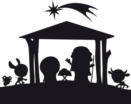 christmas nativity silhouette illustration Vector