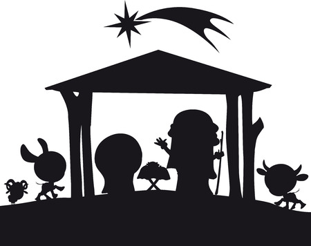 creche: christmas nativity silhouette illustration