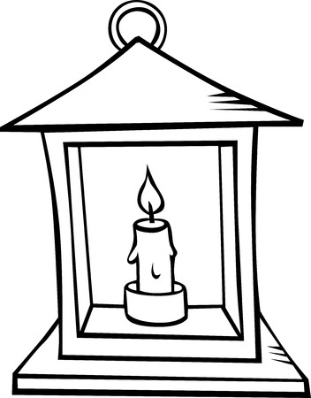 lantern with candle - black outline illustration