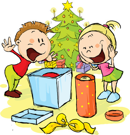 in amazement: Children under the Christmas tree unwrap gifts - vector illustration