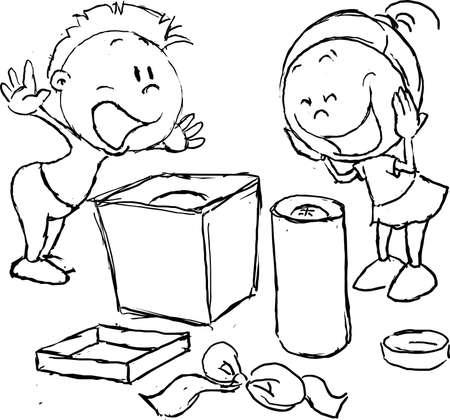 wish fulfilled - children rejoice unpacking gifts, sketch illustration