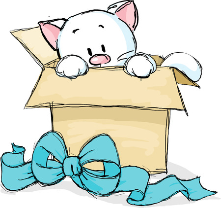 unwrapped: kitten peeking out of a gift box Illustration