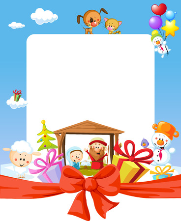 creche: Christmas frame - nativity with jesus, maria and joseph - cartoon illustration Illustration
