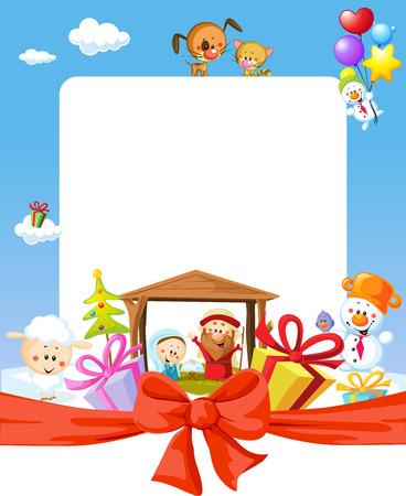 guardería: Marco de la Navidad - la natividad con Jesús, María y José - ilustración de dibujos animados