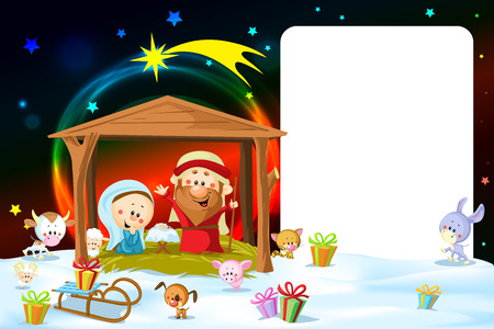 creche: christmas frame - nativity with lights and cute animals Illustration