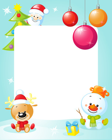 xmas tree: christmas frame with snowman, xmas tree, ball and reindeer- funny vertical vector background illustration