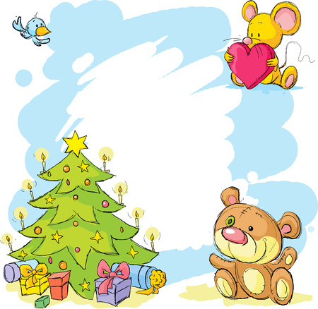 cute mouse: christmas frame with teddy bear, cute mouse and bird - funny vector background illustration Illustration