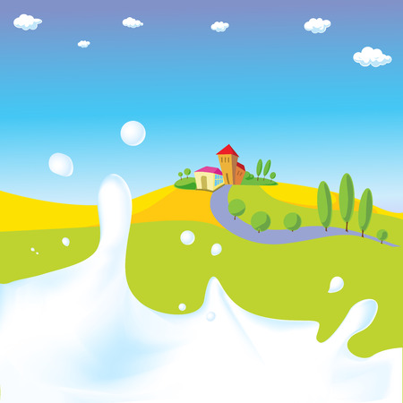 splash of milk - vector illustration with green field, village and natural background Vector