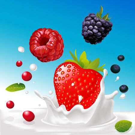 mix fruit: vector splash of milk with forrest fruit mix - illustration with blue background