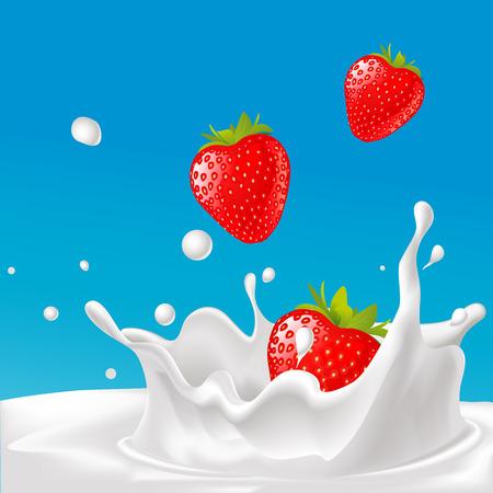milk drop: vector splash of milk with strawberry- illustration with blue background