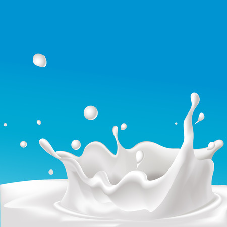vector splash van melk - illustratie met blauwe achtergrond