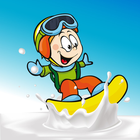 cartoon surfing: funny boy cartoon surfing on milk splashing wave - vector illustration