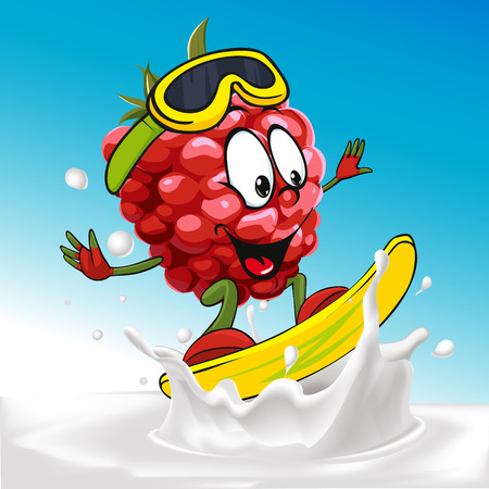 wave vector: funny raspberry cartoon surfing on milk splashing wave - vector illustration