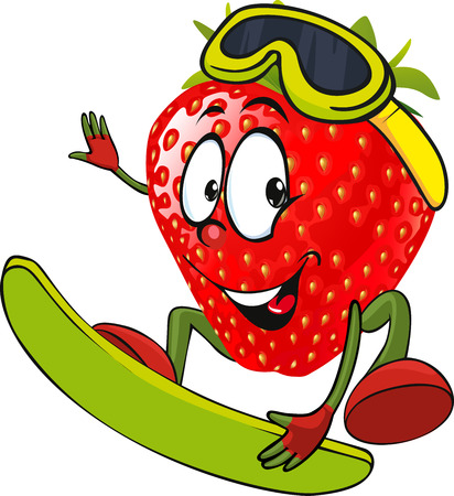 strawberry cartoon: red strawberry surfing - vector illustration