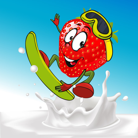 strawberry cartoon: funny cow surfing  - vector illustration