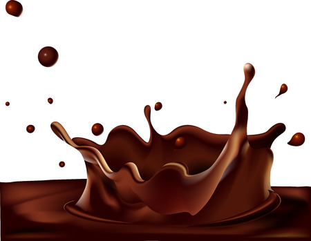 splash of hot coffee or chocolate isolated on white background - vector illustration
