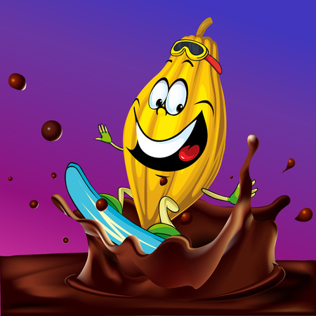 cocoa pod surfing on chocolate splash - vector illustration with violet background Vector