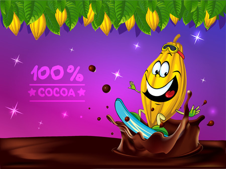 funny chocolate vector design with cocoa pod, leaf and chocolate splash Illustration