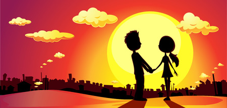 back to back couple: lovers silhouette in sunset - vector illustration