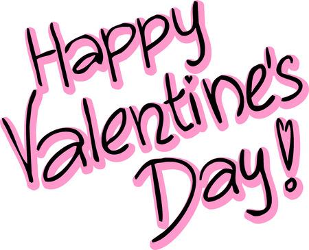 superscription: Happy Valentines Day - vector text illustration Illustration