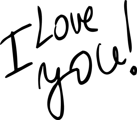 superscription: I Love You - vector text illustration