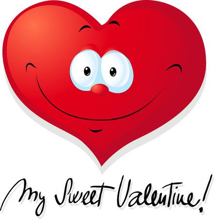 superscription: cute valentine heart - vector illustration