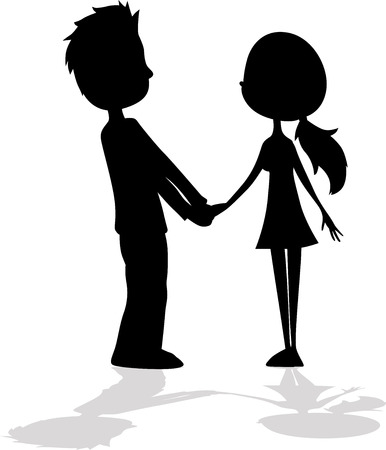 silueta hombre: amantes - D�a de San Valent�n - ilustraci�n vectorial Vectores