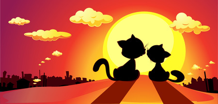 cat silhouette: cats in love silhouette in sunset - vector illustration