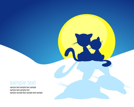 couple back to back: cat silhouette in winter sunset - vector illustration