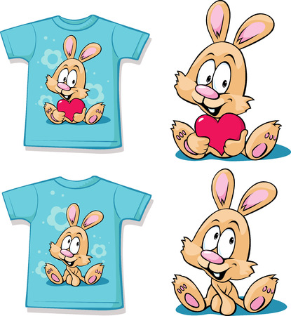 blue shirt: blue  shirt with cute bunny - vector illustration Illustration