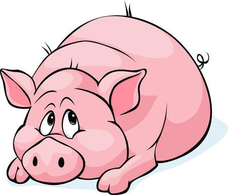 laying: pig cartoon laying isolated on white background - vector illustration