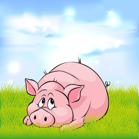 historieta del cerdo que pone en hierba verde - ilustración vectorial Ilustración de vector