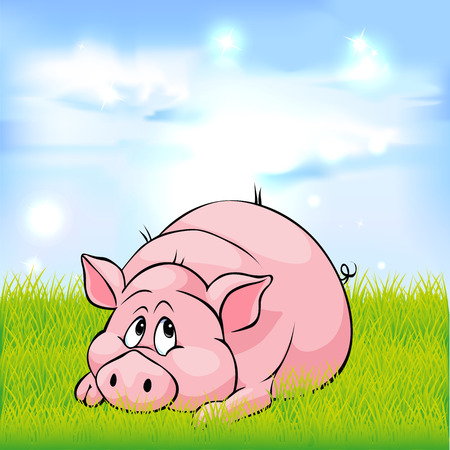 pig cartoon laying on green grass - vector illustration Vector Illustration