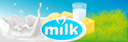 dairy products: vector design with milk splash, dairy product and green grass - illustration