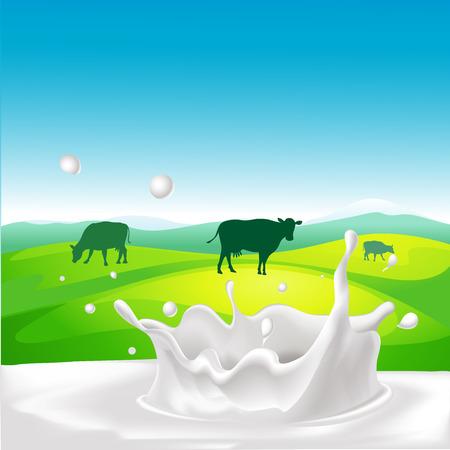 vaca: dise�o de vectores con la vaca, chapoteo de la leche y el paisaje Vectores