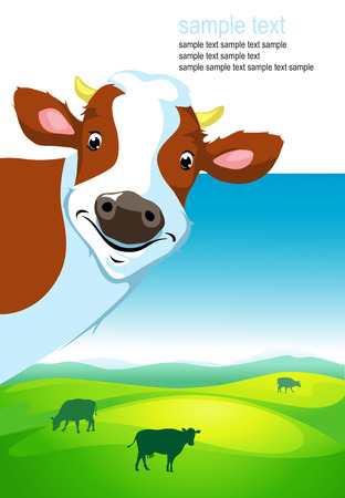 cow vector: vector design with cow and landscape