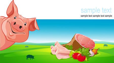 cerdos: dise�o del vector con el cerdo, jam�n, carne de cerdo, verduras y tierras de cultivo