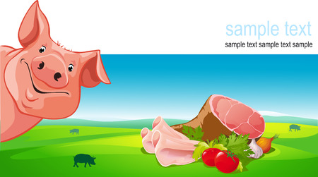 pork meat: vector design with pig, ham, pork, vegetable and farmland Illustration