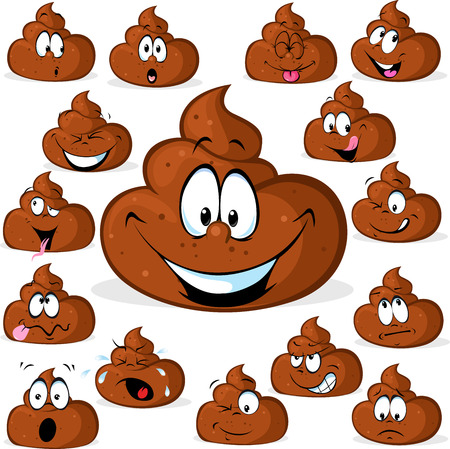 shit: funny poo with many expressions isolated on white background