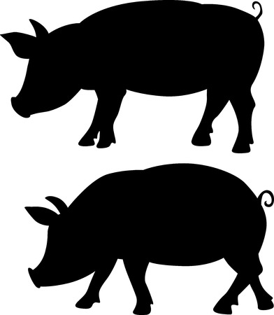 two animals: pig silhouette - black vector illustration