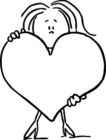 black woman: woman hold big heart - black line vector illustration